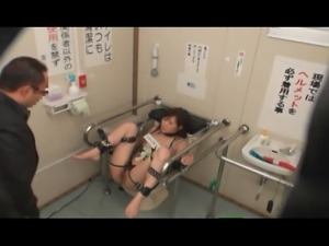 Young Girl is bound on a public toilet. Total strangers take advantage of the...