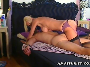 A busty blonde amateur escort sucks and fucks doggystyle with nice cumshot on...