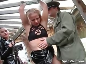 Outdoor spanking action where blonde part5