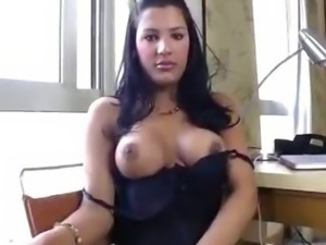 Hot Tranny Strokes Herself