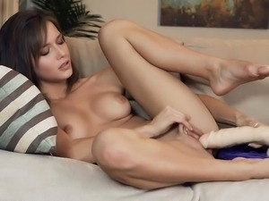 Malena with fat dildo reaches orgasm. Closeup