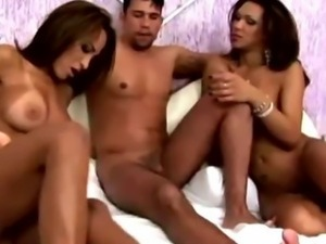 Dude Joins Shemale Dirty Bareback Party
