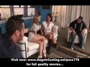Hot sexy swinger girls have their pussy licked and do blowjob free