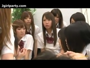 Large Group Of Japanese School Girls free