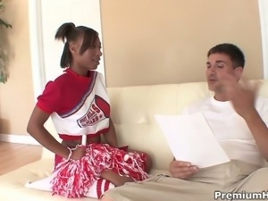 Busty ebony cheerleader Nevaeh Givens drilled hard on couch