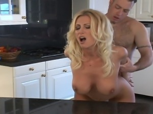 Alluring blonde momma fucked hardcore in kitchen
