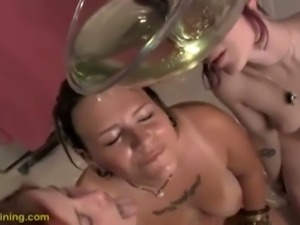 Three hot sluts shower in piss