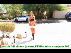 Anne badass blonde undressing and naked with skipping rope and toying pussy...