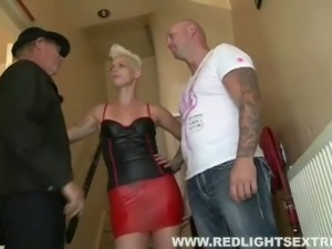 Blonde tattooed hooker rides muscled hunk cock
