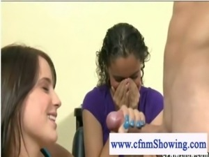 Horny cfnm girls playing with cock at the hair studio free