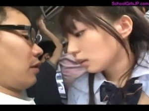 Schoolgirl Getting Her Mouth And Pussy Fucked By Business Man On The Bus free