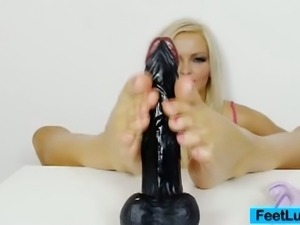 Beautiful blonde nicky angel feet tease