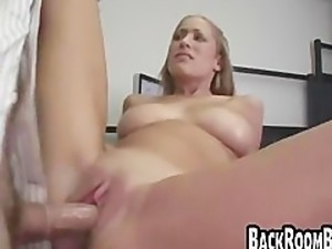 Blonde with huge tits fucks for a job