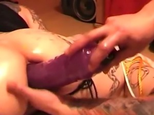 Fisting my wifes ass and stretching her holes with huge dildos
