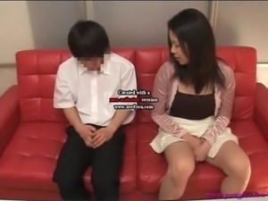 Japanese mom and son watching porn together free