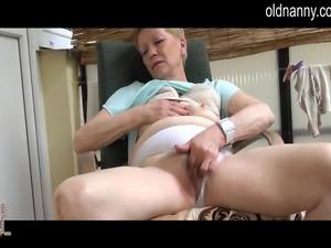 Horny Old granny masturbation