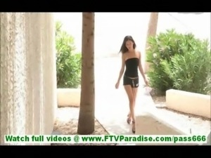 Sofia amateur brunette with natural tits walking naked outdoors and toying...
