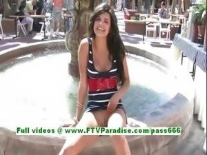 Trisha adorable brunette teenage public flashing tits