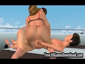 Rich 3d cartoon dude with a yatch and two horny babes free