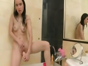 Teenager shovering and masturbate hole