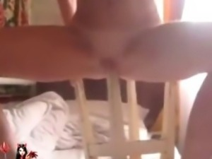 Extremely perverted girl masturbate with the chair leg  in XtremeGirlsTube.net