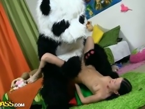 Skinny teen fucking with naughty panda