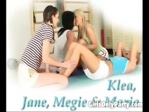 Four attractive lesbians getting naughty and dirty in the locker room