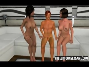 Stylish young 3d cartoon man gets double pleasure free