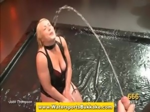 Blonde gets hosed down with piss free