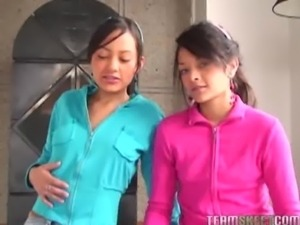 two lovely latinas Tami Fabiana and Diana Delgado facialized after getting...