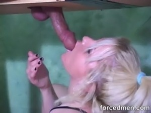 Mistress masturbates and sucks cock via gloryhole free