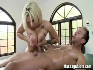 Big Tits Blonde gets Boobs and Pussy Massaged by a Cock - MassageSluts.com free