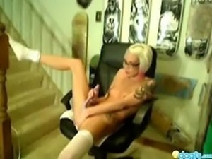 Blonde emo dildoing on a office chair