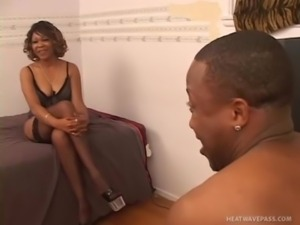Tengie Sweet, black MILF in stockings takes young cock free