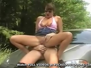 Veronica and her husband take a drive to the woods to have sex on the car hood