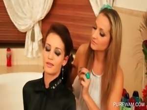 Brunette lesbo gets boobs teased in her messy shirt