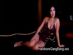 Busty Asian babe double penetration gangbanged free