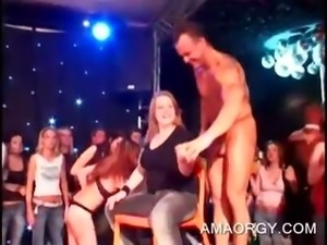 Party hoes gets twats pounded by orgy strippers