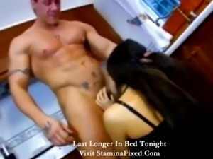 Muscular man fucks a hot wife in the kitchen free