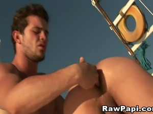 Hot gays playing their ass and having sex on a yacht. Enjoy fucking at the...
