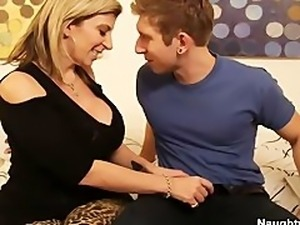 Busty Blonde Sara Jay helps sons friend get off by letting him titty fuck