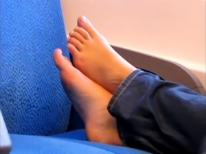 Dutch girl feet in train