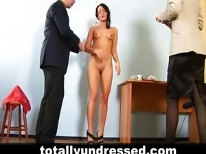 Elegant young lady at nude job interview