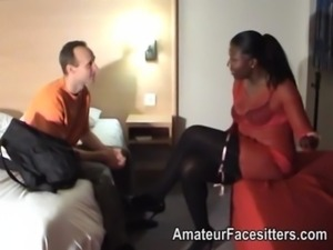Big black dominant lady with wimpy white man free