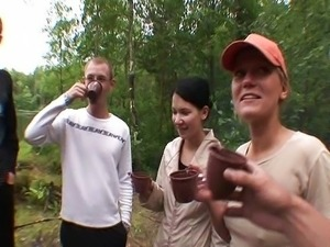 Russian swingers in the forest
