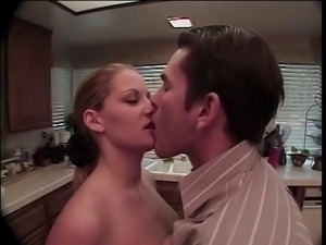 Sexy blonde with cute breasts is rough fucked against kitchen counter