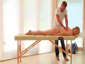 Sweet blonde in hot strings gets ass massaged