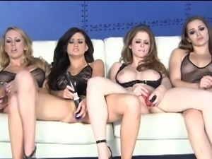 Four babes masturbating together