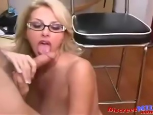 Blonde big tits secretary MILF seduced by her boss he fucks her on the office...