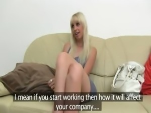 Skinny blond fucking on fake casting